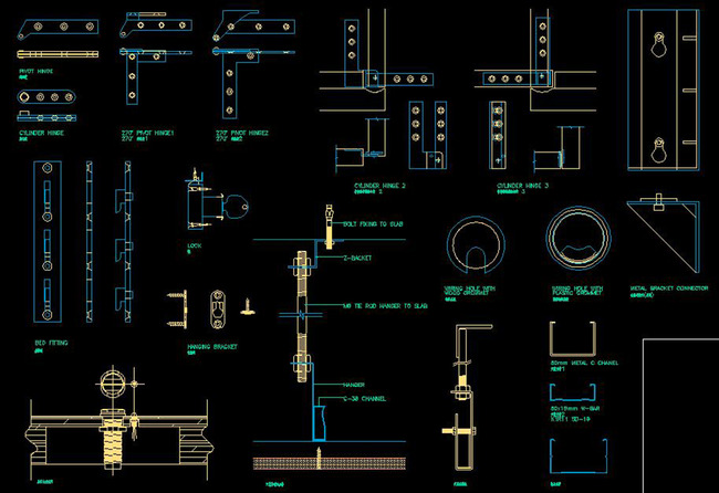 CAD构件五金器材大全建筑滑轮门饰螺栓python编辑cad图片