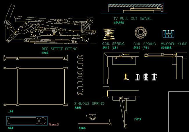 CAD器材坐标大全构件建筑滑轮门饰五金cad指向螺栓图片