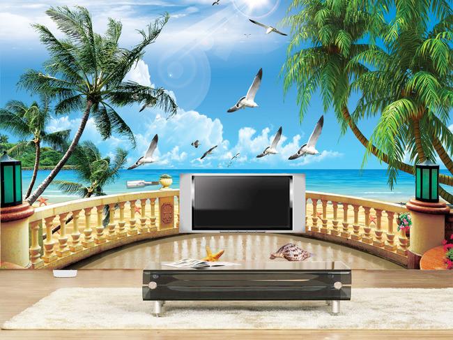海南椰子树物料设计背景图片psd方案广告设计服务背景图片