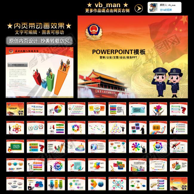 公安警察民警报告总结会议PPT幻灯片模板