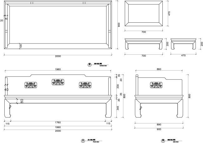 中式古典罗汉床CAD图纸图纸化粪池3图片