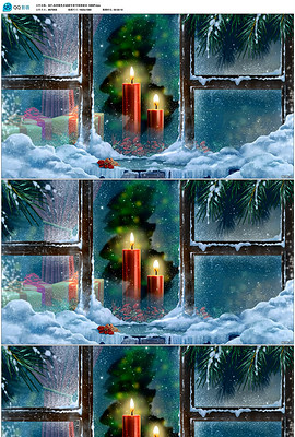 高清窗口飘雪<strong>红色</strong>蜡烛圣诞过年1080P