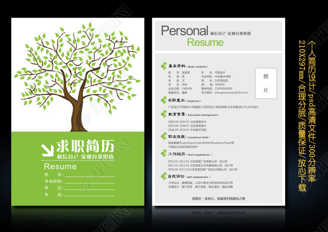 绿色大树背景个人求职简历设计模板