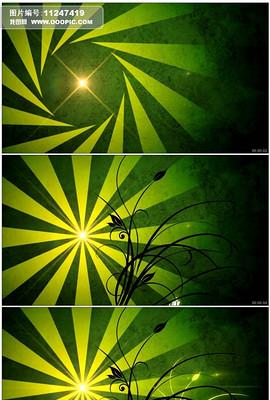 花纹生长发散光芒绿色超高清视频背景素材