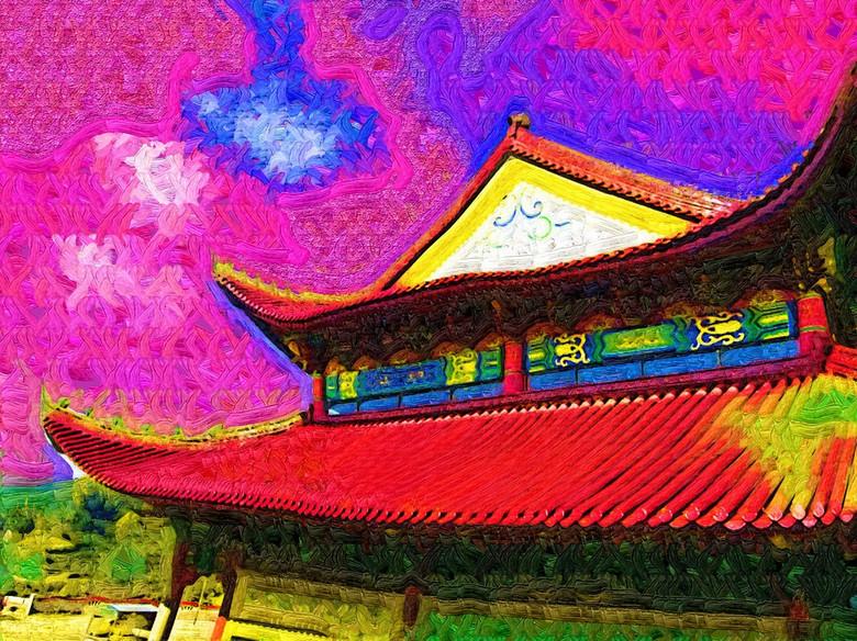 中式建筑水彩画