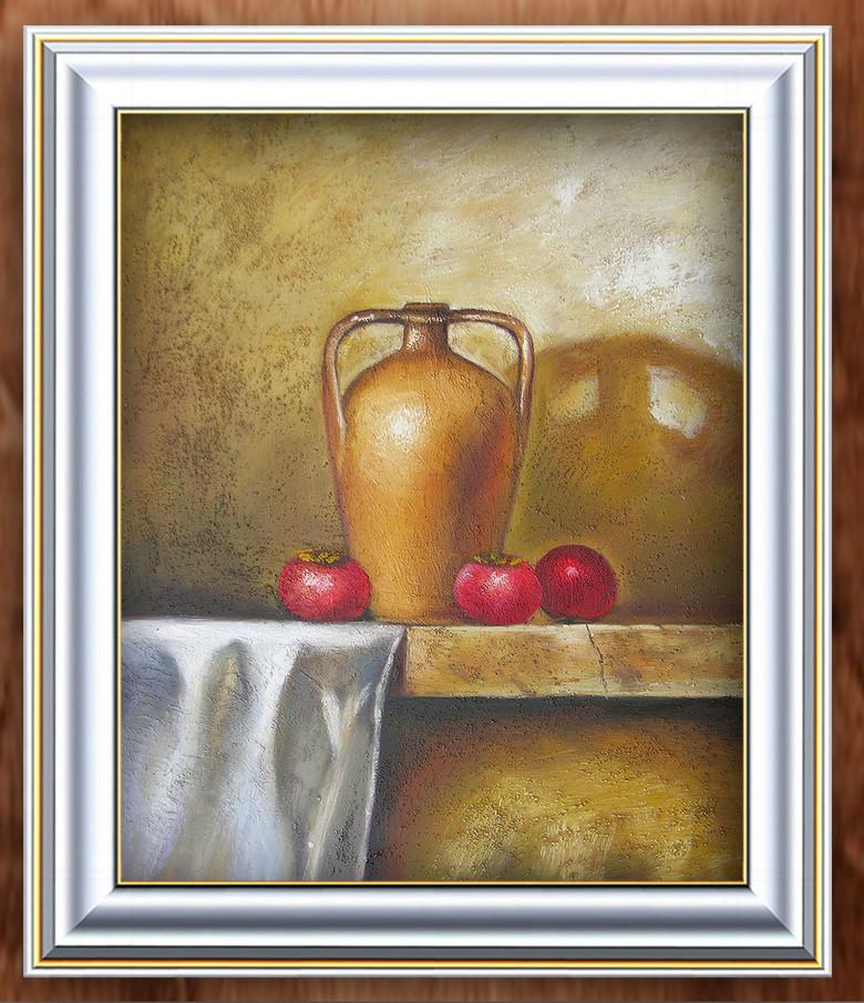 陶罐和水果静物油画