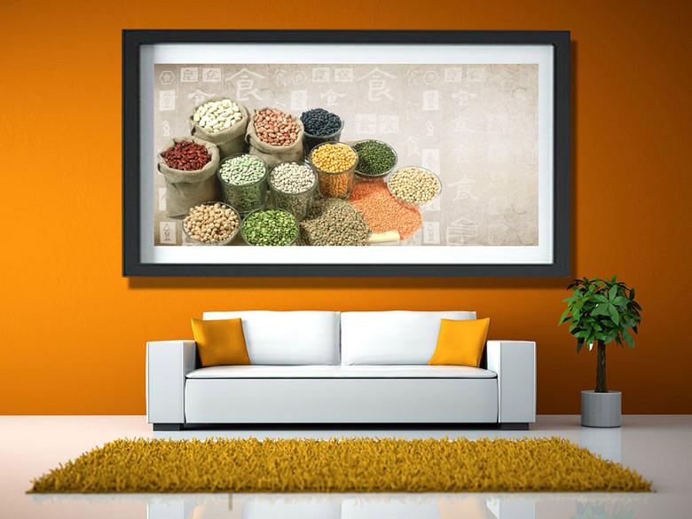五谷杂粮大豆小麦豆类壁画装饰画中堂画背景
