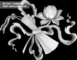 jdp浮雕灰度图卷轴牡丹