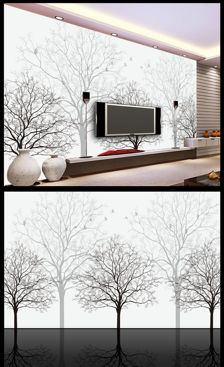 幻树枝树林小鸟抽象树树干电视背景墙