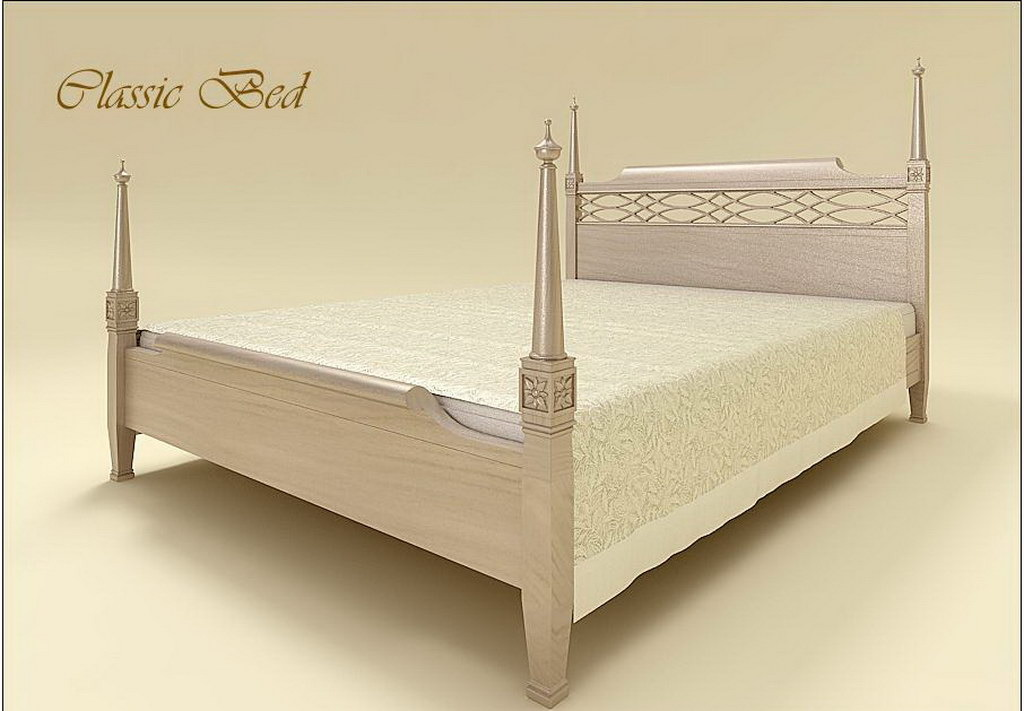 欧式床3d模型下载白色