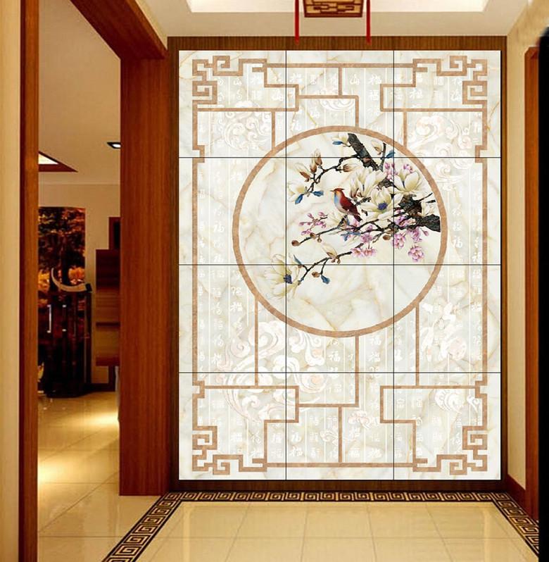 百幅图中式花鸟玄关带雕刻
