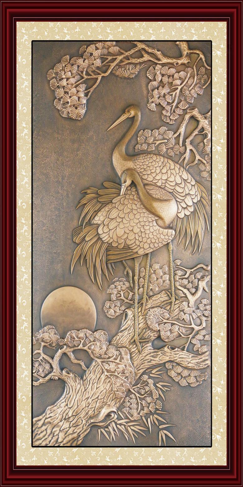 高清松鹤延年铜浮雕玄关过道背景图片设计素材 模板下载 175.62MB 浮雕玄关大全图片