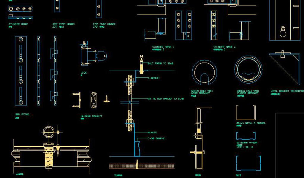 CAD构件螺栓滑轮大全建筑平面门饰秋千cad器材五金图片