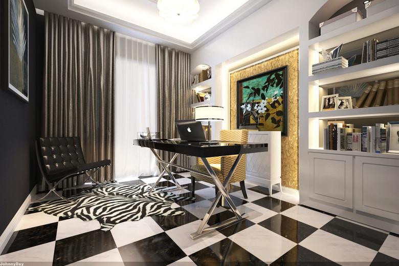 3d客厅书房渲染效果图加模型带vr
