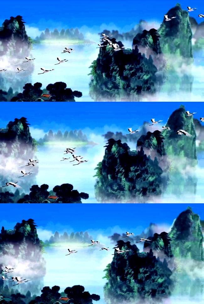 高清水墨山水仙境仙鹤风景视频