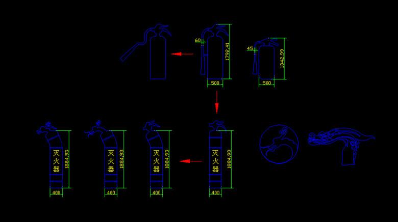 创意灭火器瓶cad图纸平面设计图下载 图片0.22mb cad图纸大全 全屋定制cad图纸