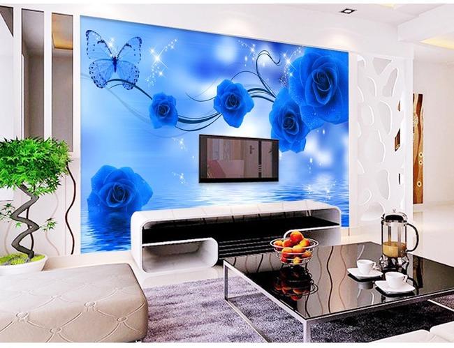 倒影妖姬蓝色壁画电视背景玫瑰墙墙纸跟墙布应该买哪个好图片