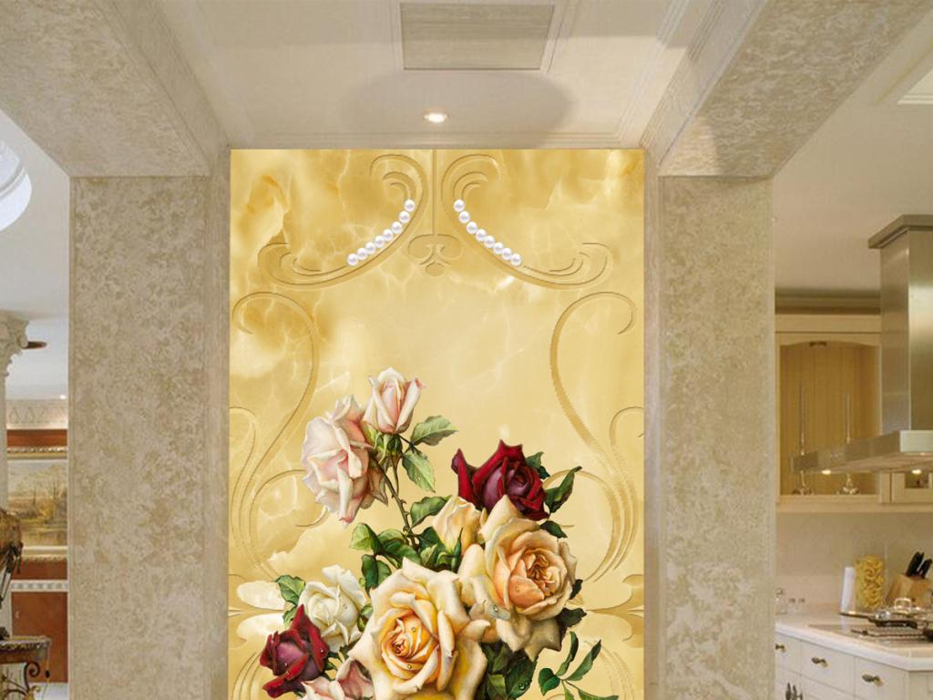 背景墙|装饰画 玄关 中式玄关 > 欧式花纹插花大理石背景玄关  版权