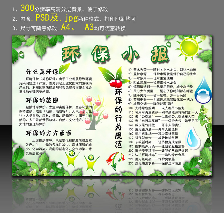 环保小报电子手抄报模板绿色家园图片素材 psd下载 3.22MB 其他大全