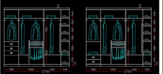 cad圖庫 室內設計cad圖庫 家具cad圖紙 > 常用標準尺寸衣柜內部結構圖