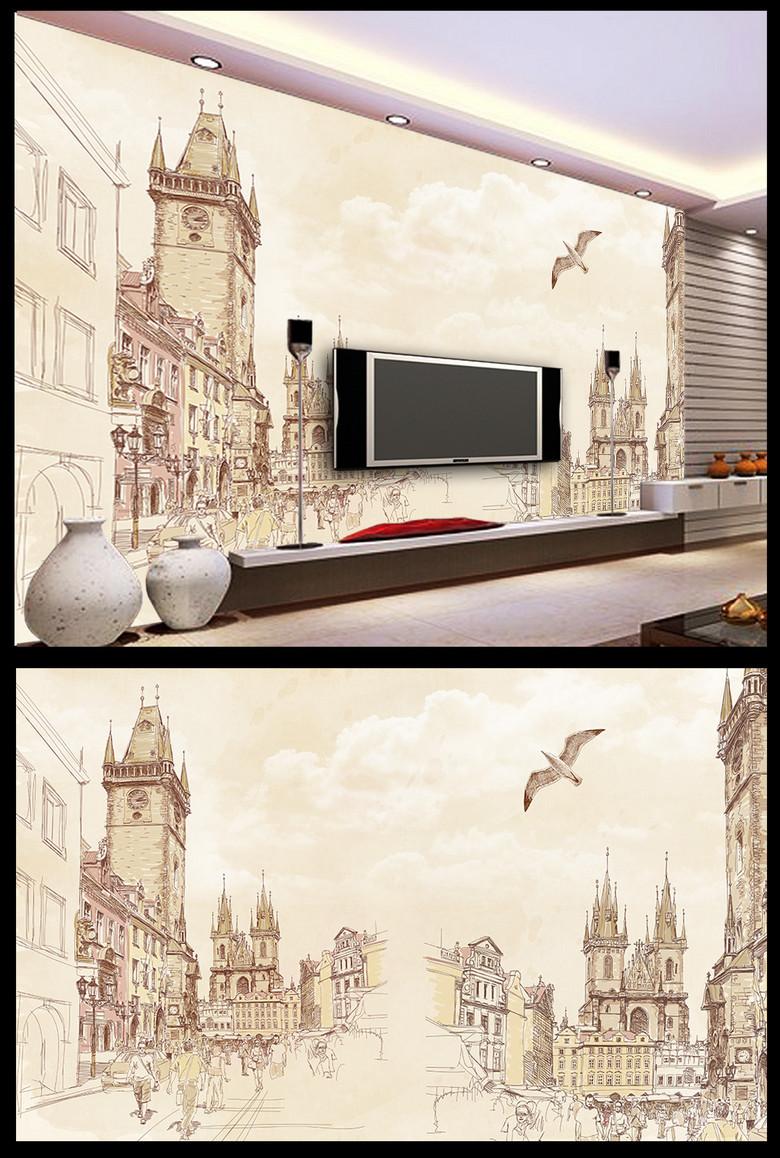 怀旧手绘欧美素描城市街景海鸥电视背景墙图片
