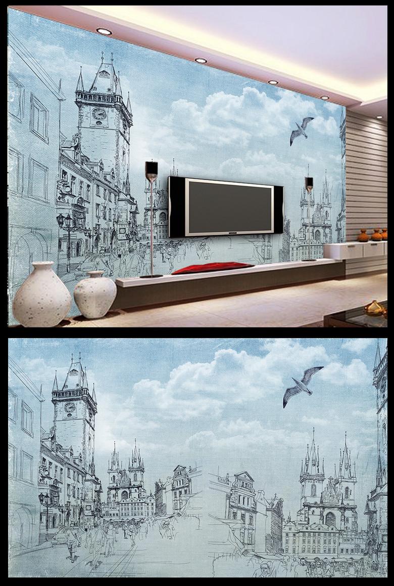 怀旧手绘素描城市街景海鸥教堂电视背景墙图片