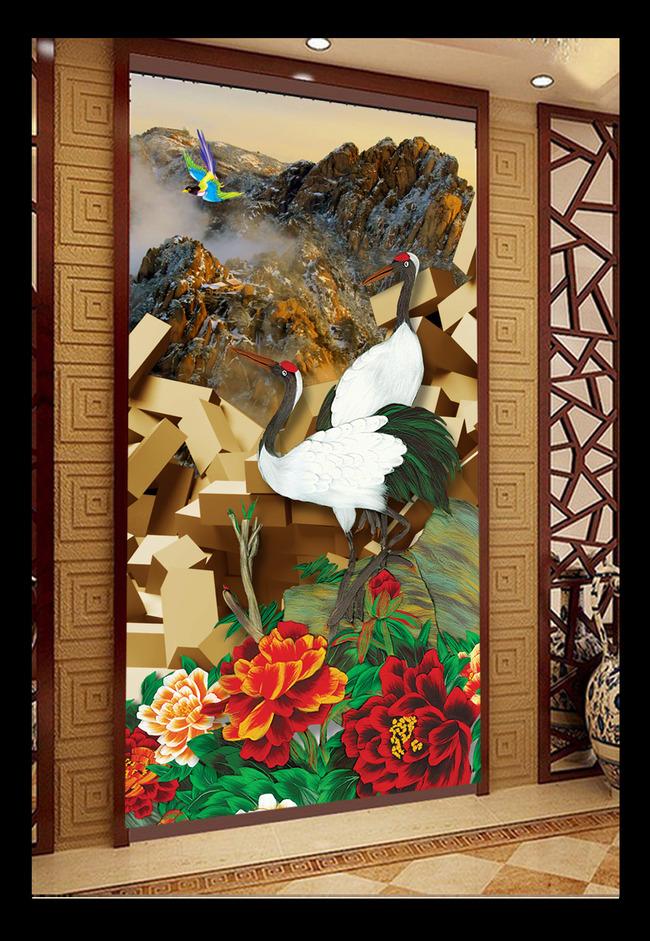 3d立体砖墙国画工笔画仙鹤图山水画玄关图片