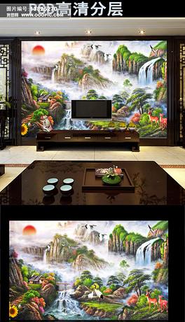 山水国画风水画电视背景墙装饰画
