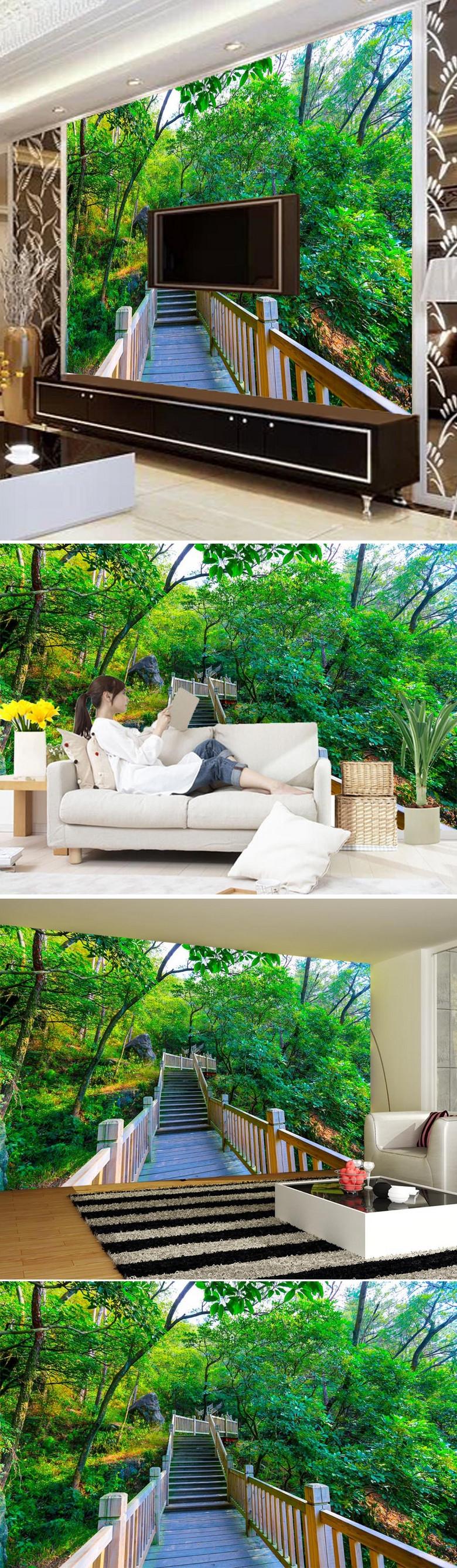 风景如画小木桥电视背景墙图片设计素材_高清模板下载图片