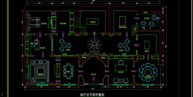 一套300平豪华经典整木展厅设计施工全屋定制图纸平面图片