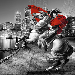 拿破仑将军法国城市黑白彩色装饰画装饰画图片