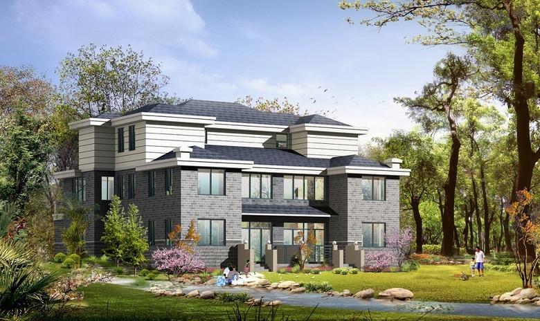 三层现代别墅设计图高端独立自建房cad图平面图下载 图片3.83MB 节点剖面图CAD大全 建筑CAD图纸