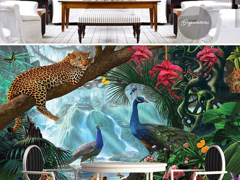 绿色森林树枝上花豹和孔雀动物风景儿童油画