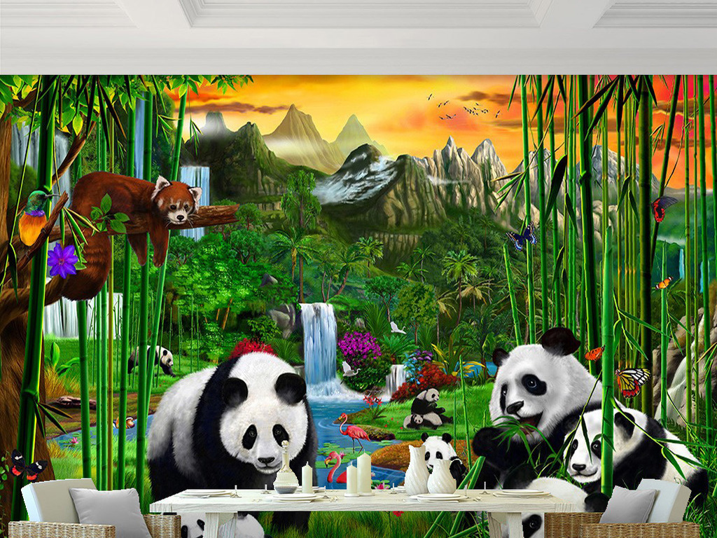 可爱卡通绿色竹林瀑布吃竹子的国宝熊猫油画