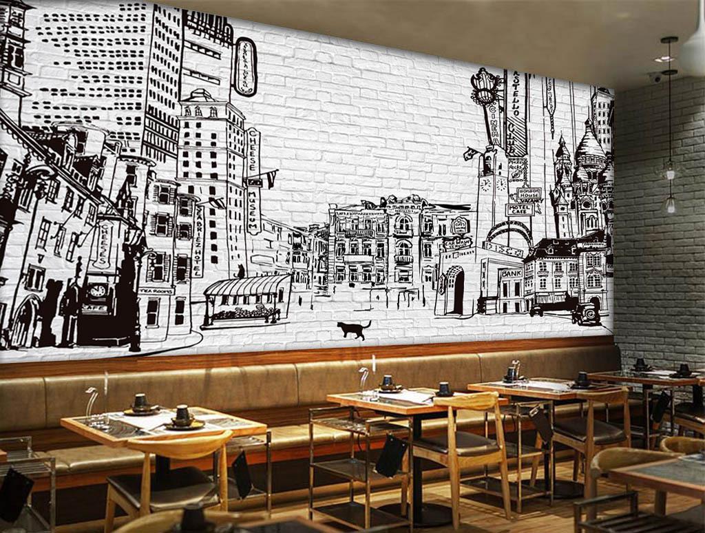设计作品简介: 手绘城市建筑剪影酒吧咖啡店背景墙 位图, rgb格式高清