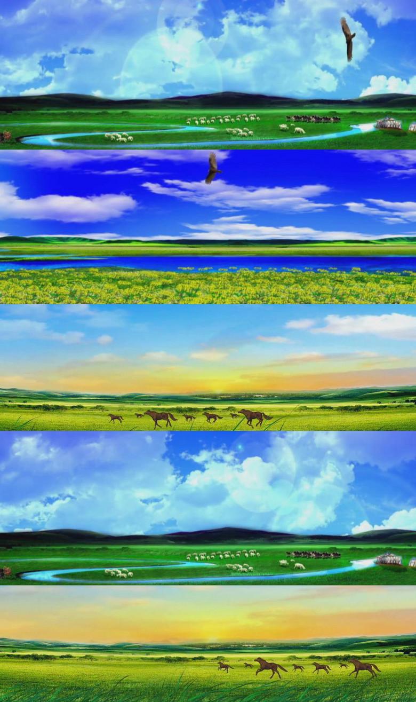 内蒙古青青草原蓝天模板素材 高清MP4格式下载 视频57.36MB 动态 特效 背景 背景视频大全