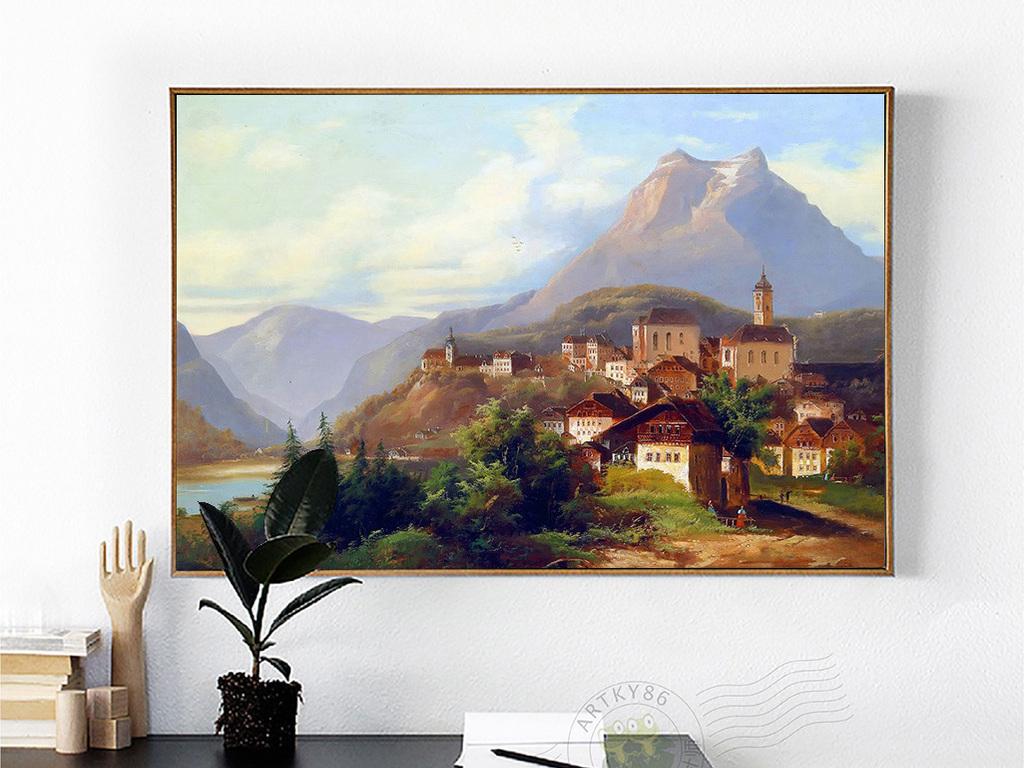 绵远山丘山脉河流树林村庄房屋山水风景油画图片设计素材 高清模板下载 11.68MB 油画装饰画大全