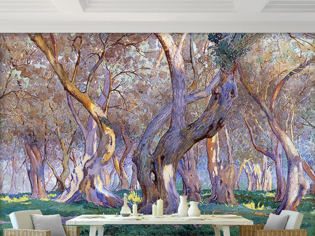 绿色草地上白色枯树树林大树风景油画背景墙