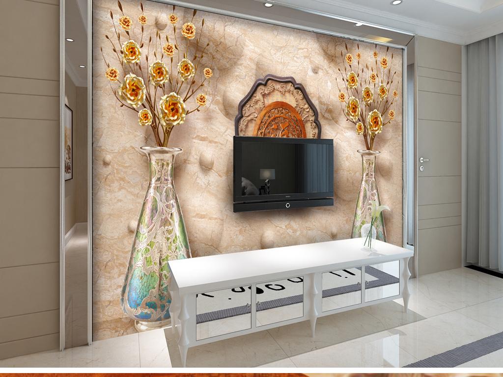 背景墙|装饰画 电视背景墙 木雕电视背景墙 > 发财树金玫瑰3d立体空间
