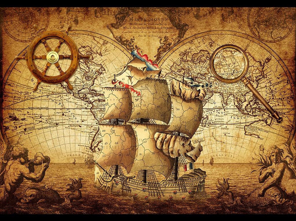 复古航海世界地图主题壁画背景墙