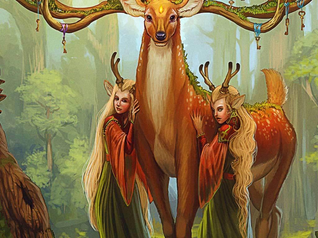 欧式森林麋鹿国王玄关背景装饰画