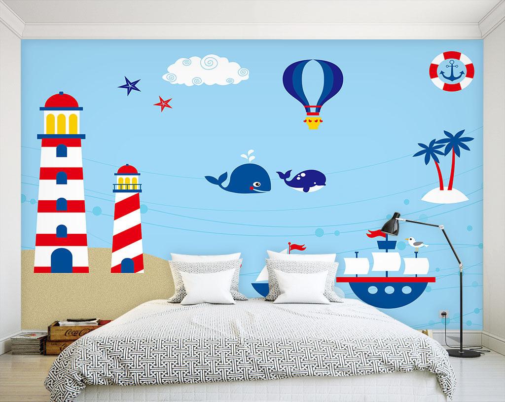 海洋世界卡通背景墙图片设计素材_高清psd模板下载(18图片