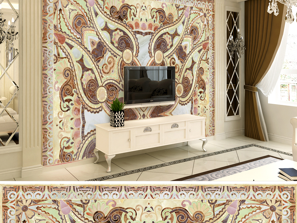 背景墙|装饰画 电视背景墙 欧式电视背景墙 > 极品霸气瓷砖拼花石材电