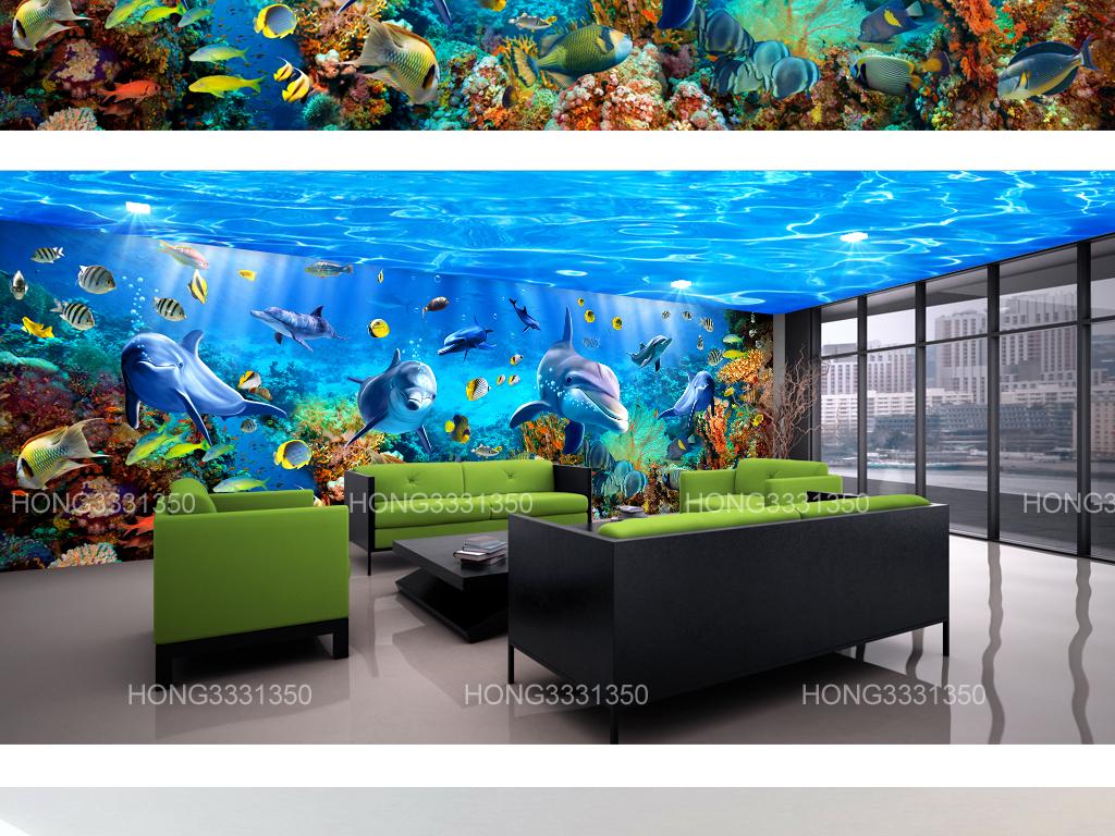 梦幻海底世界海豚主题馆3d空间背景墙