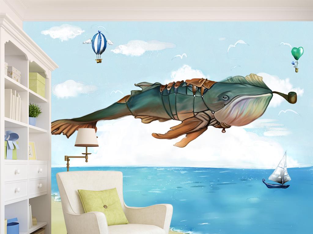 手绘高清飞翔的鲸鱼卡通背景墙