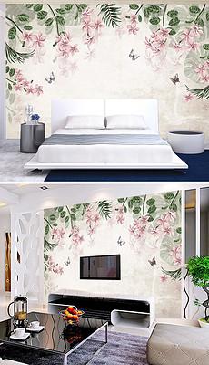 复古欧式手绘花卉背景墙壁画图片