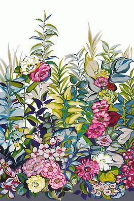 手绘花朵花丛玄关无框画背景