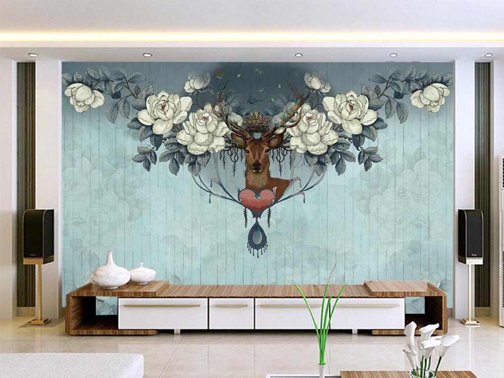 手绘长颈鹿鹿头电视背景墙