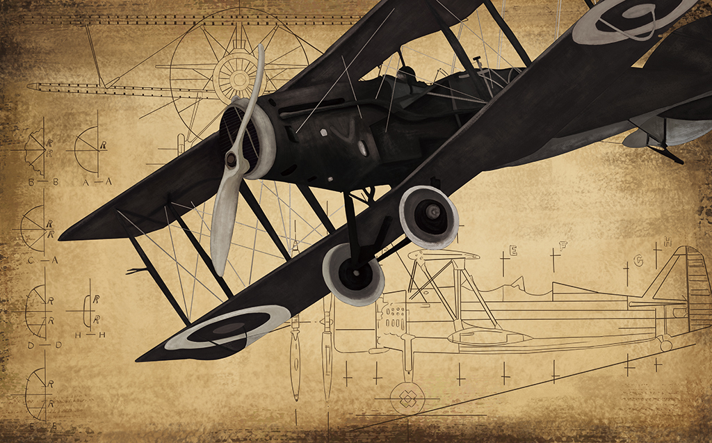 手绘复古飞机电视背景墙