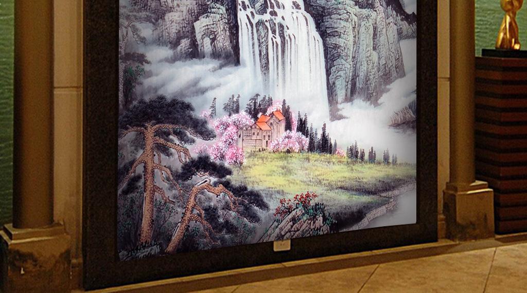 山水瀑布图山水画风景画玄关图片